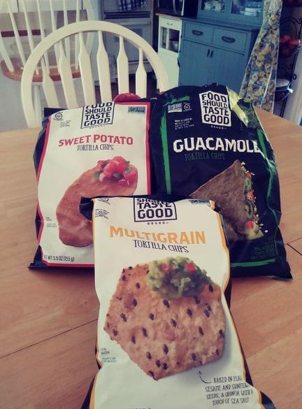 Food Should Taste Good Chips sweet potato, guacamole and multigrain bags