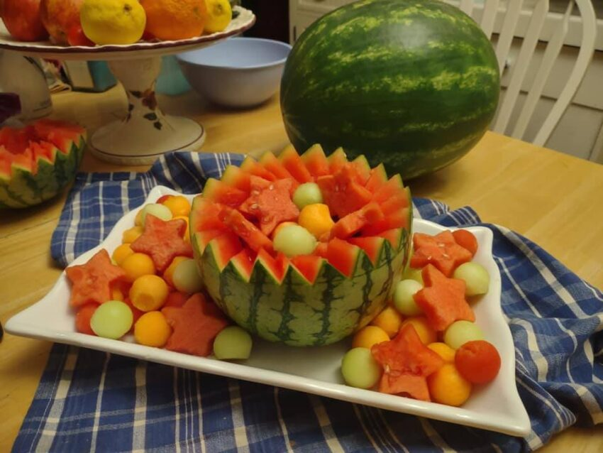 Melon bowl with watermelons, honeydew and cantaloupe