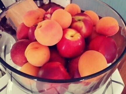 Peaches & Plums in glass dome