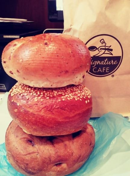 Three stacked bagels