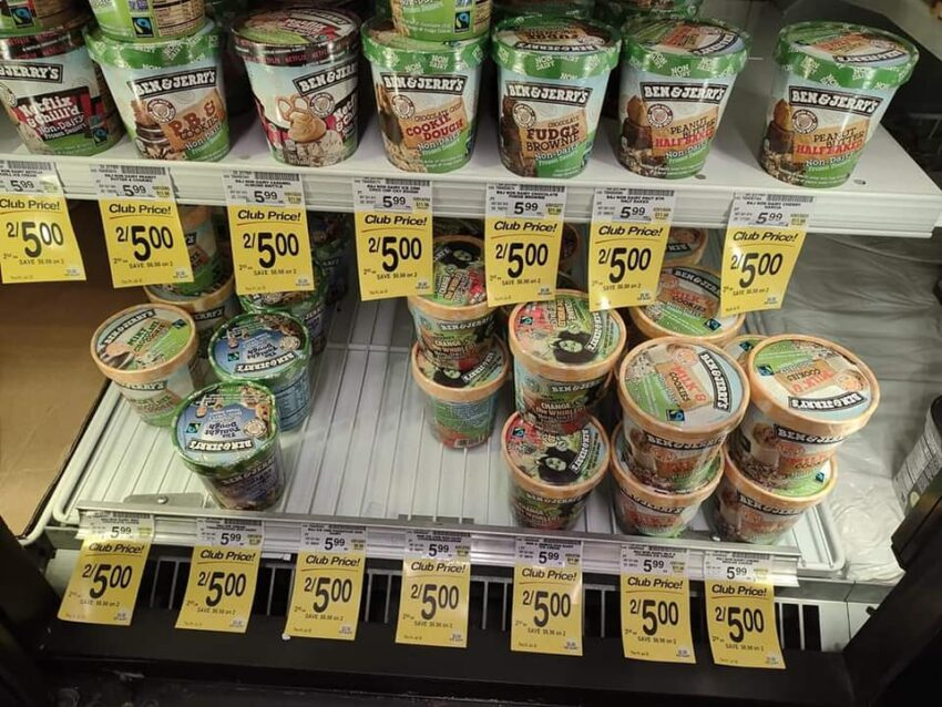 Ben and Jerry's non-dairy ice cream pints Safeway $2.50
