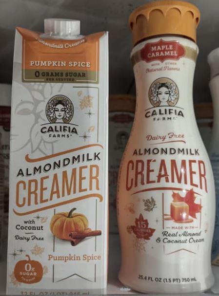 Califia almondmilk pumpkin spice creamer and maple caramel creamer