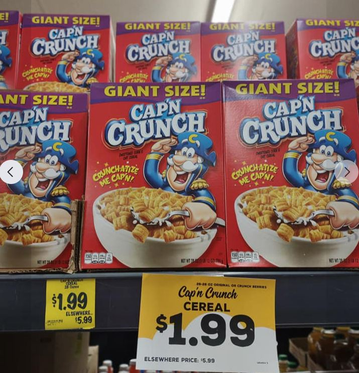 Cap'n Crunch giant boxes cereal marked $1.99