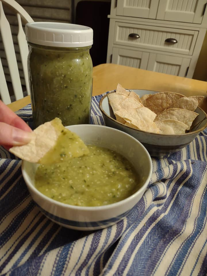 tomatillo salsa with homemade oil-free chips