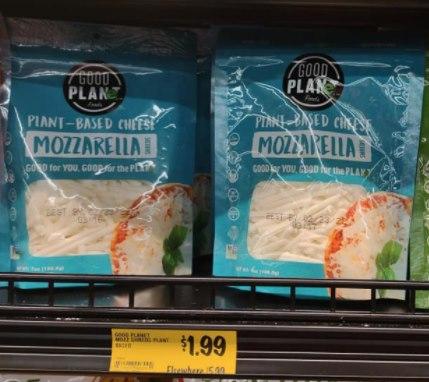 Good Planet Mozzarella Cheese marked $1.99 ea.