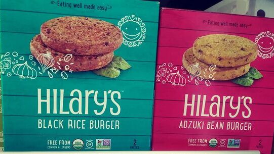 boxes of Hilary's burgers