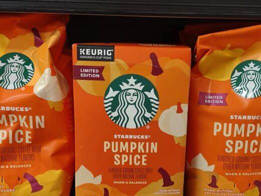 Starbucks pumpkin spice coffee bags and k-cups